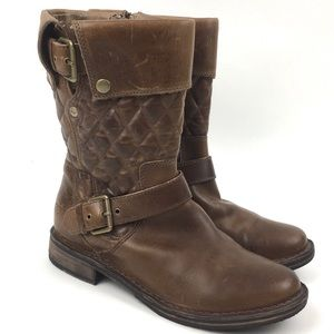 UGG Conor quilted moto boot biker tan leather